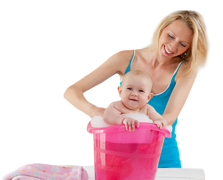 Woman-giving-baby-a-bath