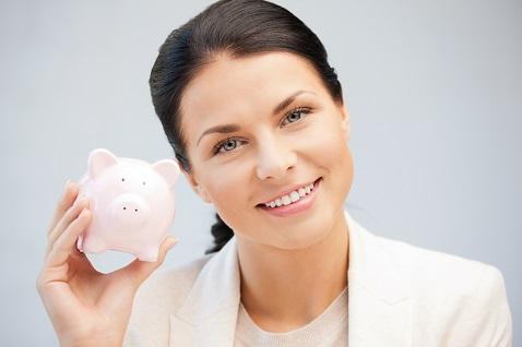 woman with piggy bank - hvac rebates
